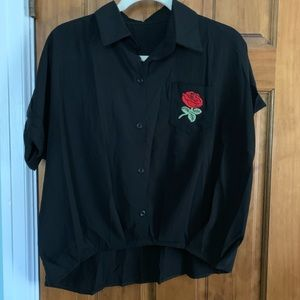 Tops - Black collared blouse with Rose detail size M